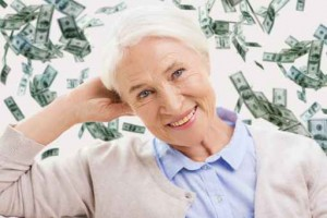 happy senior woman face over violet background